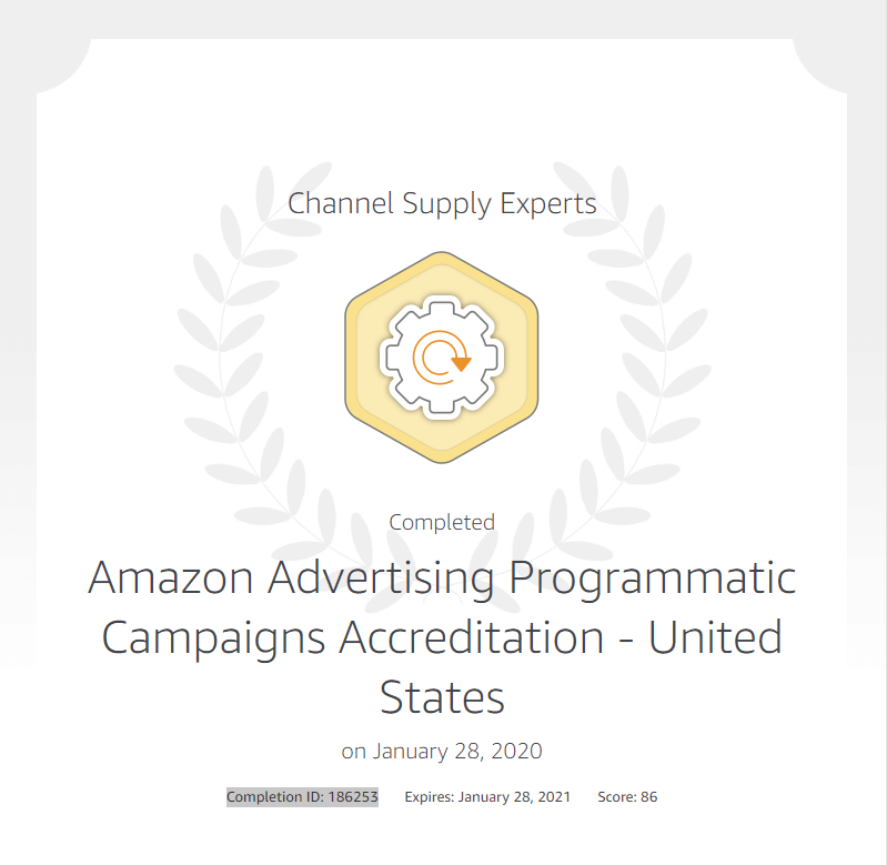 Amazon Advertising Programmatic Campaigns Accreditation - United States